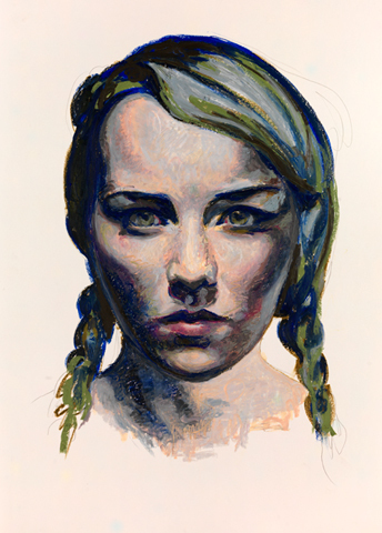 Mercedes Helnwein, 'Phiala', 2012, Drawing, Collage or other Work on Paper, Oil pastel on paper, KP Projects