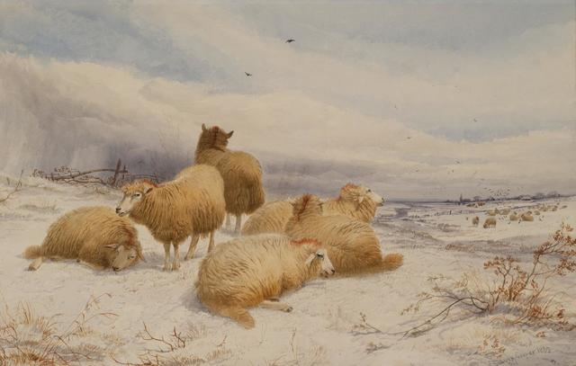 , 'Sheep in a Wintry Landscape,' 19th Century, Cross Gate Gallery
