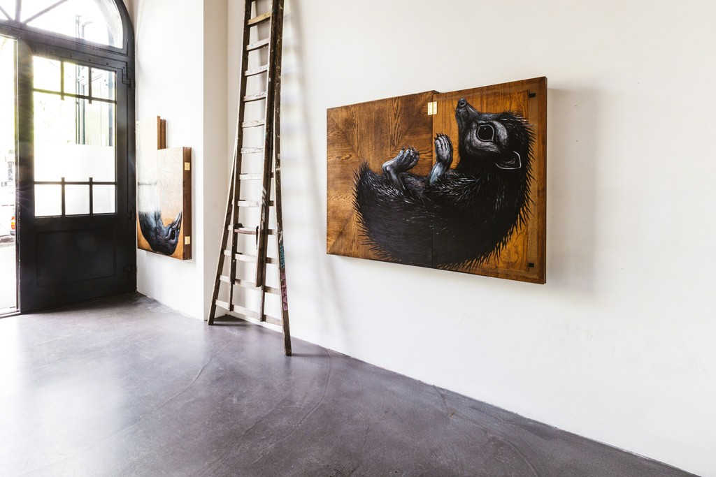 Installation view of ROA at The Garage.