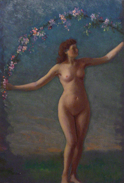 William Partridge Burpee, '[Female Nude with Garland]', ca. 1890, Painting, Oil on prepared board, Childs Gallery