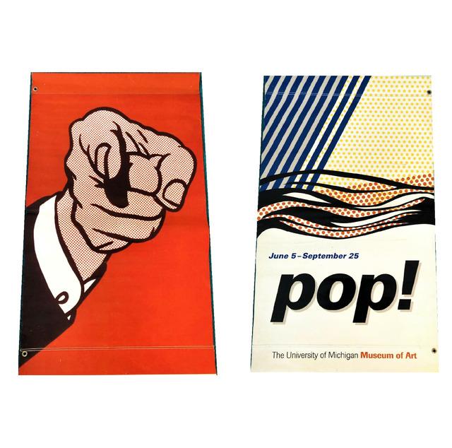 Roy Lichtenstein, ''POP!', Exhibition Street Banner, University of Michigan Museum of Art, 48  x 28 in.', 2013, VINCE fine arts/ephemera
