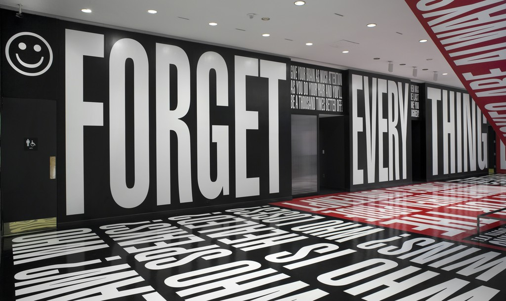 "Barbara Kruger, ""Belief+Doubt,"" 2012. © Barbara Kruger. Photo: Cathy Carver"