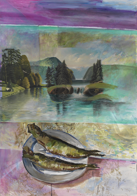 , 'Untitled (the artist inserted two anonym landscape paintings),' 2014, Galerie Meyer Kainer