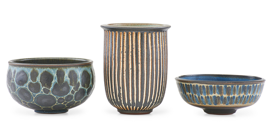 Small vase and two small bowls, Claremont, CA