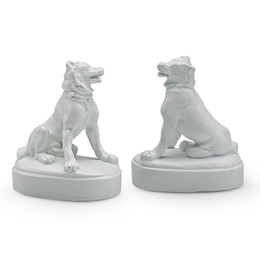 Union Porcelain Works,  Rare Pair Of Dogs Of Alcibiades, Greenpoint, NY