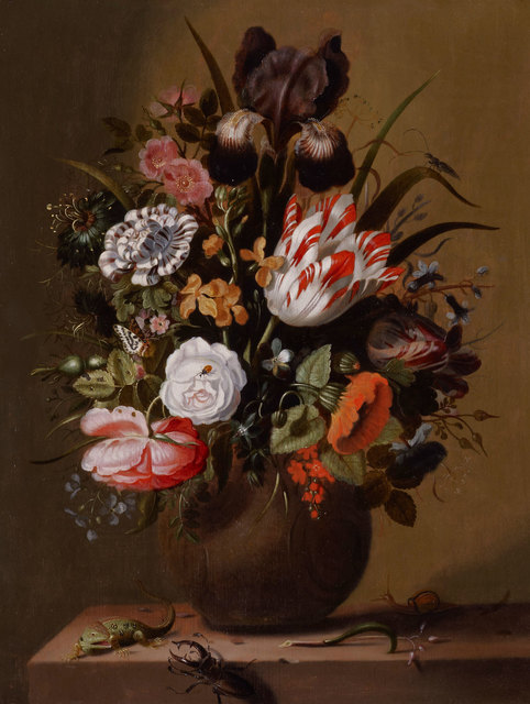 , 'Roses, tulips, an iris and other flowers in a stoneware vase on a ledge with a lizard, stag beetle and snail,' 1644, DICKINSON