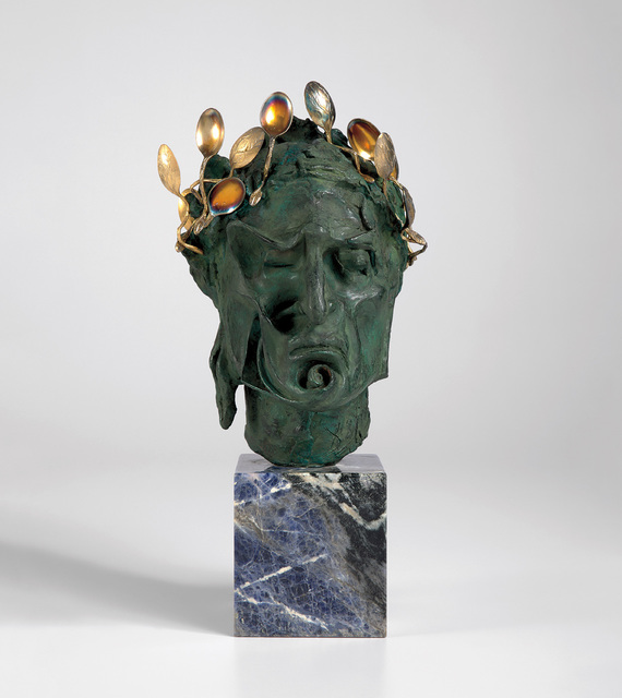 Salvador Dalí, 'Head of Dante', 1964, Sculpture, Patinated bronze, 18k gold-plated sterling silver and sodalite stone base., Phillips