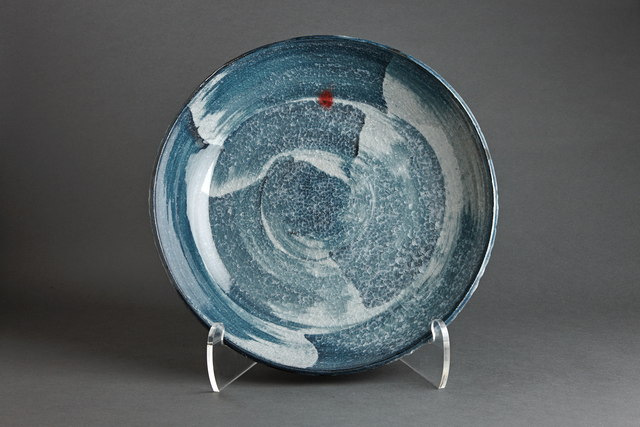 , 'Plate, chalk and feldspar glaze with engobe brushwork,' 2013, Pucker Gallery