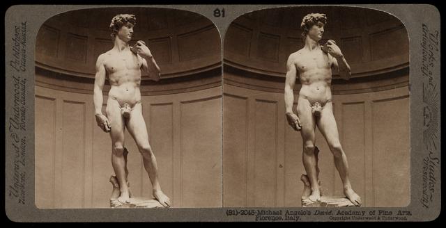 Bert Underwood, 'Michelangelo's David, Academy of Fine Arts, Florence', 1900, Stereograph : gelatin silver, Getty Research Institute