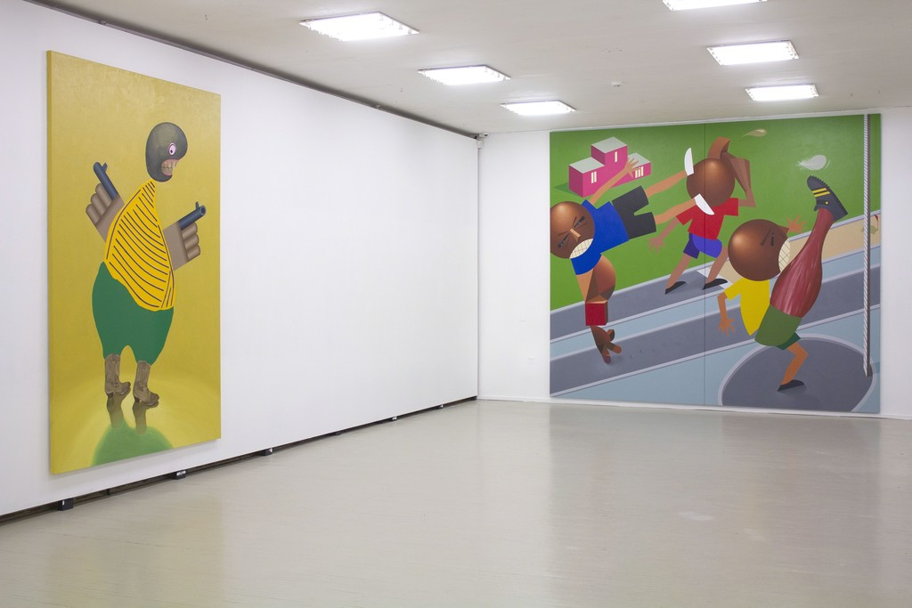 """Fragment of exhibition """"Družba"""".  On the left: Kaido Ole, """"Armed Freak"""". 2014. Oil, acrylic and alkyde paint with plastic details on canvas, 280 x 190 cm. On the right: Kaido Ole, """"Baltic Match"""". 2016. Oil and acrylic on canvas, 330 x 390 cm."""