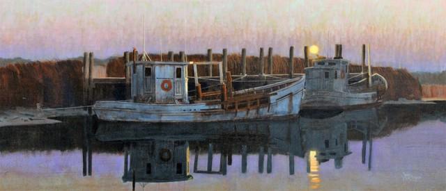 , 'Moonset at Port Mahon,' 2017, Peninsula Gallery