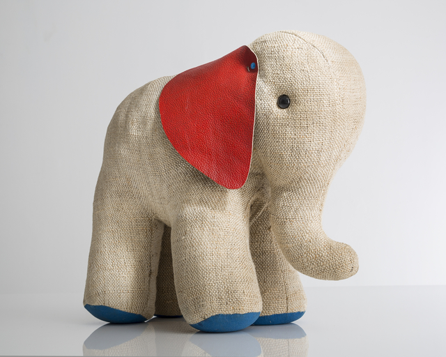 """Renate Müller, '""""Therapeutic Toy"""" Elephant in natural jute with red and blue leather detailing.,' 1968, R & Company"""