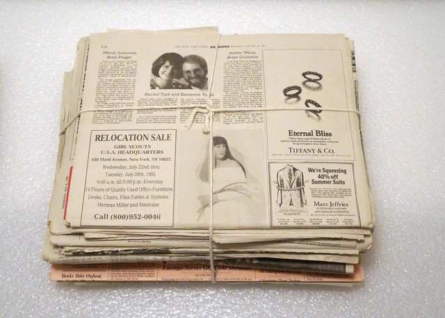 , 'Newspaper (Relocation Sale/Wedding),' 1993, Vivian Horan Fine Art