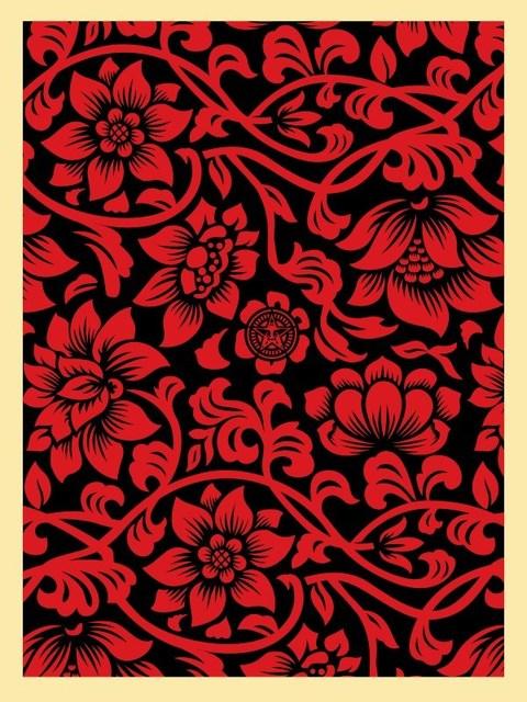 Shepard Fairey (OBEY), 'Floral Takeover (red/black)', 2017, Rudolf Budja Gallery