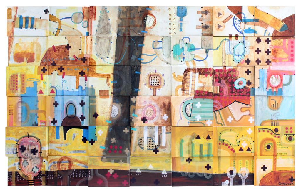 "386 1952-ART PRINT POSTER 14/"" x 11/"" O/'KEEFFE GEORGIA PINK /& YELLOW HOLLYHOCKS"