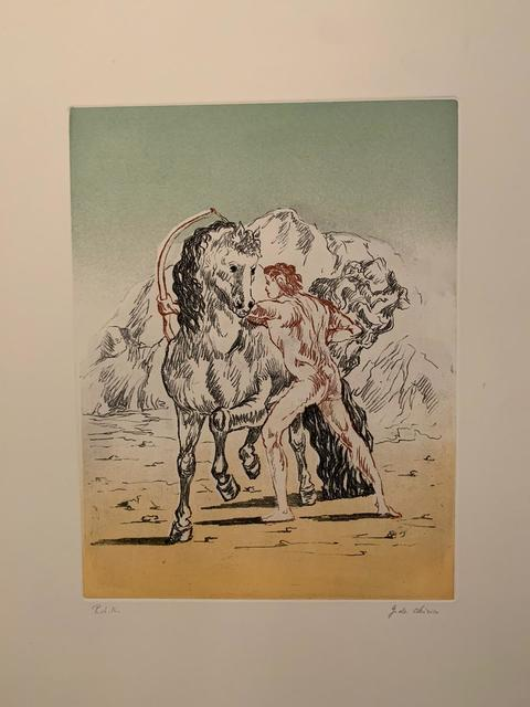 Giorgio de Chirico, 'Arciere con cavallo', 1972, Print, Incisione a vernice molle e acquatinta a 4 colori, Galerie AM PARK
