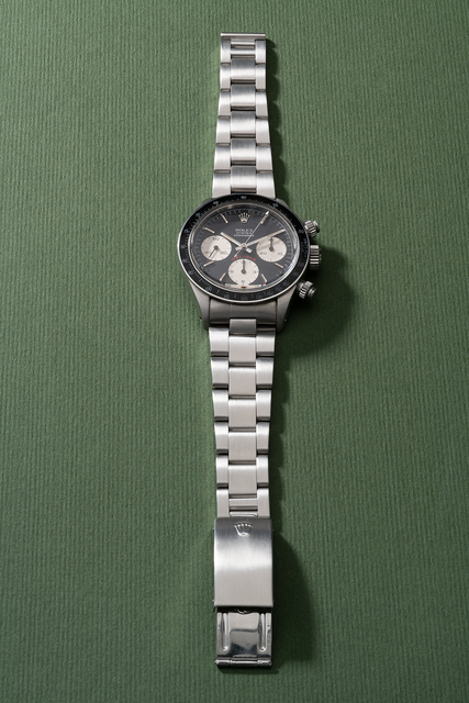"""Rolex, 'An attractive and extremely rare stainless steel chronograph wristwatch with """"1st Place – 1981 Rolex – J.B. Hudson Classic"""" case back and bracelet', Circa 1979, Phillips"""
