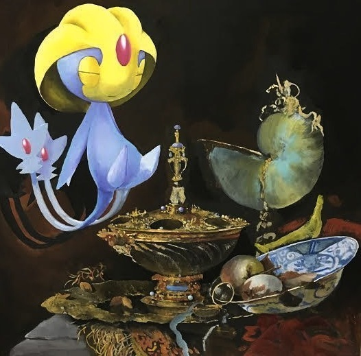 """, 'An Uxie resting in a Pronk still life with Holbein Bowl, Nautilus Cup and Fruit Dish"""",' 2016, Anonymous Gallery"""