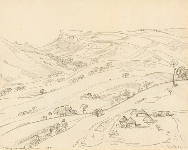 Jacob Hendrik Pierneef, 'Bergendal, Tzaneen', 1928, Drawing, Collage or other Work on Paper, Pencil on paper, Strauss & Co