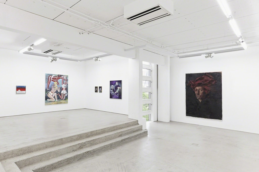 G2 #1 installation view with paintings by (fr. le. to ri.) Robert Seidel, Kristina Schuldt, Malte Masemann and Jochen Plogsties, photo: Dotgain.info © the artists & G2 Kunsthalle, Leipzig.