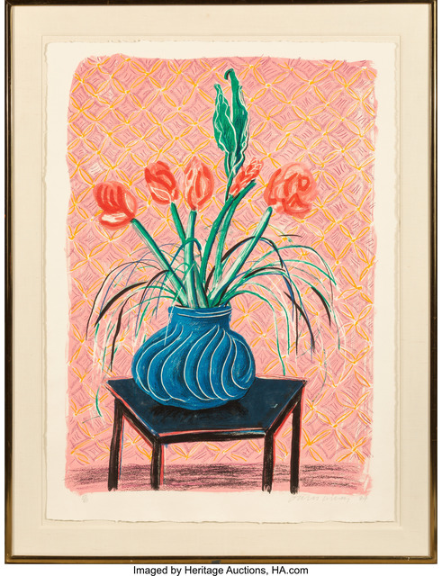 David Hockney, 'Amaryllis in Vase, from Moving Focus', 1984, Print, Lithograph in colors on TGL handmade paper, with full margins, Heritage Auctions