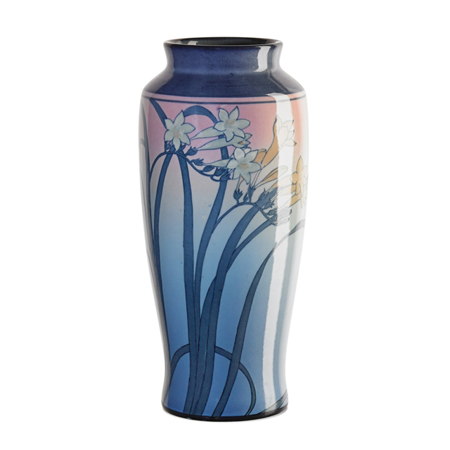 Kataro Shirayamadani, 'Rookwood, Fine Tall Ivory Jewel Porcelain Vase With Freesia (Uncrazed), Cincinnati, OH', 1922, Rago