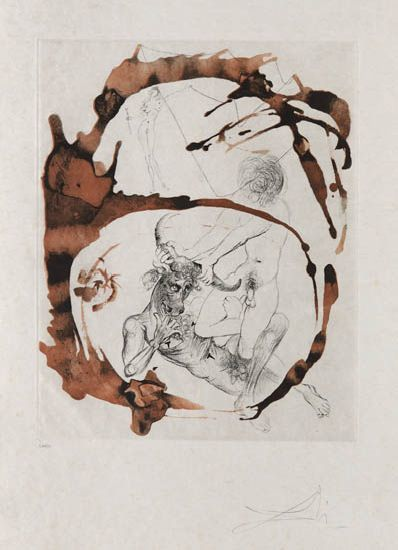 Salvador Dalí, 'Theseus and Minotaurus', 1965, Print, Drypoint and aquatint etching, Galerie d'Orsay