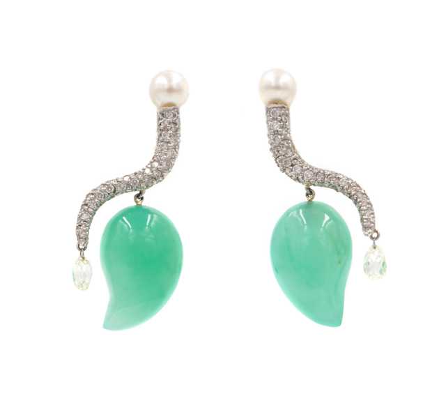 , 'Curly Cue Earrings In Green,' , form & concept