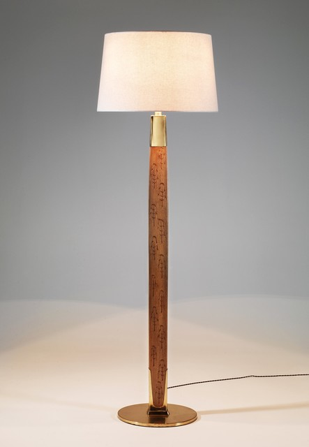 , 'Floor lamp in sycamore engraved with stylized pine trees motifs,' ca. 1950, Galerie Eric Philippe