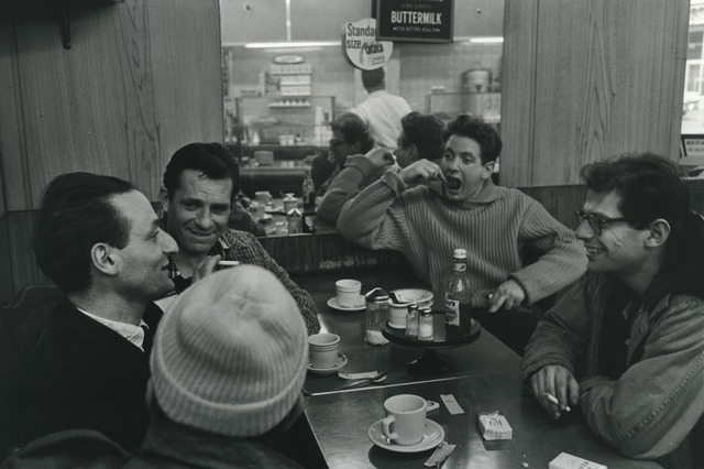 , 'Gregory Corso, Larry Rivers, Jack Kerouac, David Amram, and Allen Ginsberg at a diner - Pull My Daisy,' 1959, L. Parker Stephenson Photographs