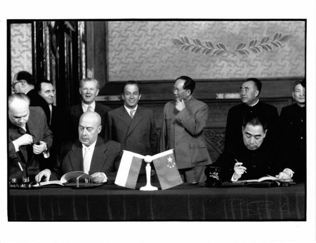 , 'China Premier Chou En Lai signing with Polish Premier Cyrankiewicz, Beijing,' 1957, Koru Contemporary Art