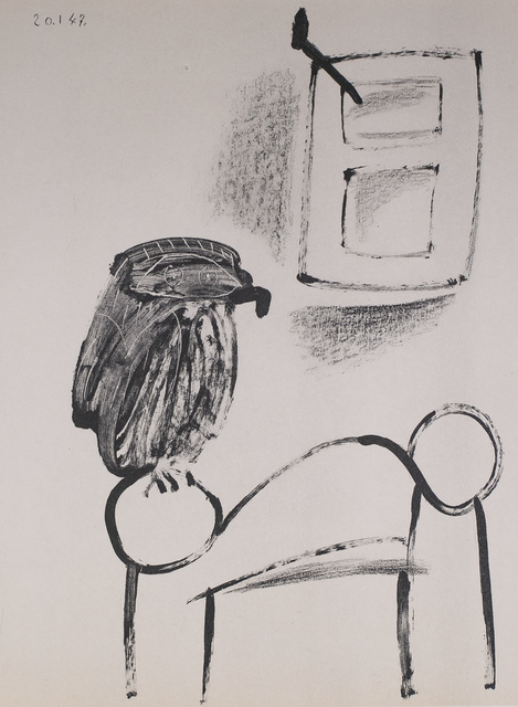 Pablo Picasso, 'Le Hibou Au Fond Blanc (The Owl In White Background), 1949 Limited edition Lithogrph by Pablo Picasso', 1949, White Cross