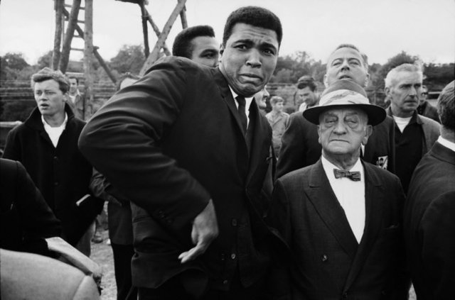 , 'World heavyweight champion Muhammad Ali is scared by a bee while visiting a movie set, London,' 1966, Atlas Gallery