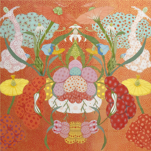 Mari Ito, 'Origen del deseo - Arcoíris rojo', 2018, Painting, Pigments, Sumi ink, Japanese paper and Nikawa glue on wood panel, Villa del Arte Galleries