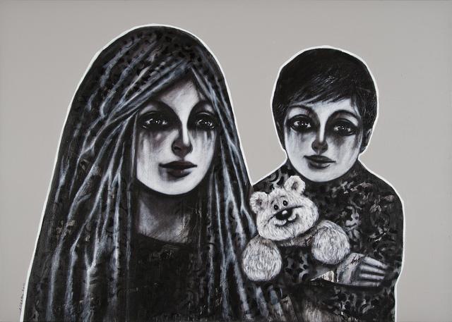 Mohannad Orabi, 'Family Portrait series ', 2015, Mixed Media, Mixed media on canvas, Ayyam Gallery