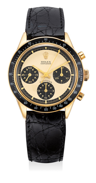 """Rolex, 'A very rare and extremely attractive yellow gold chronograph wristwatch with champagne """"Paul Newman"""" dial', Circa 1968, Phillips"""