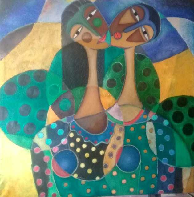 James Mbuthia, 'Girls with Mango Trees', 2018, One Off Contemporary Art Gallery