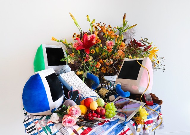 Faith Holland, 'Detumescense', 2020, Installation, 'Soft Computing' Plushies, Custom Fabric, Fur, Flowers, Fruit, Wine, iPad, Wires, Old Phones., TRANSFER