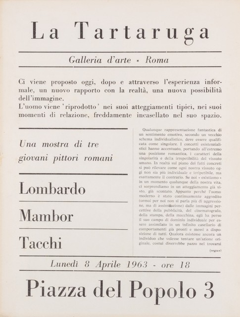 Various Artists, 'Three young roman artists', 1963, Finarte