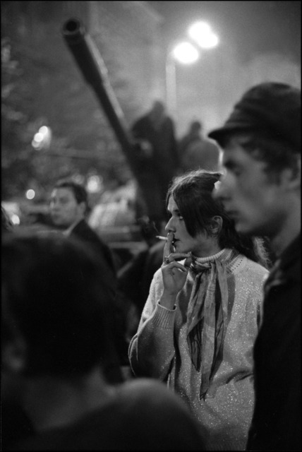, 'Czechs gather under the gunbarrel of a Russian tank to protest the invasion. Prague, Czechoslovakia. ,' 1968, Magnum Photos
