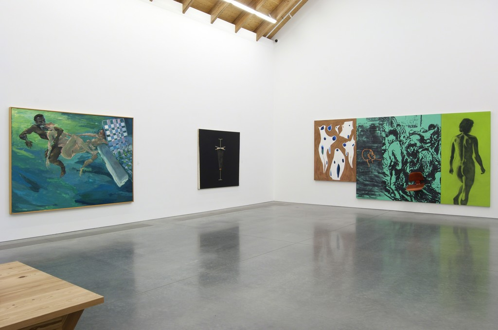 Installation view of Unfinished Business: (From left to right) Eric Fischl, Savior Mother, Save Your Love(r), 1984. Oil on canvas. The Menil Collection, Houston. Ross Bleckner, Revolver, 1976. Acrylic and oil on canvas. Collection of the artist. David Salle, Poverty is No Disgrace, 1982. Oil, acrylic, charcoal, and chair on canvas. Collection of the Akron Art Museum, Museum Acquisition Fund and gift of Larry Gagosian, 2000.45 a-d. Photo: Gary Mamay.