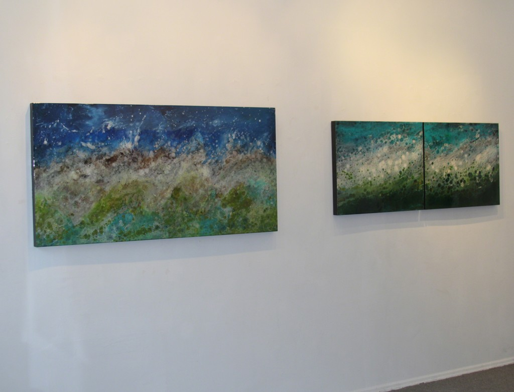 Canadian artist Marie Danielle Leblanc's artwork is often inspired by her worldwide travels.  She takes notes and photos and then returns and paints.  This exhibit is inspired by her Journey to Nepal.   The painting on the left is Jhinu Danda and on the right Bennett.  On exhibit through July at Elisa Contemporary Art.