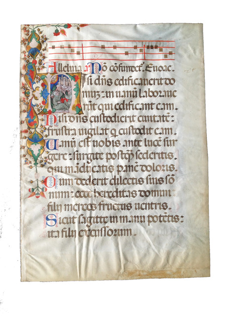 """, 'Singing Franciscans in an initial """"H"""" on a leaf from a Medieval Choir Psalter,' c. 1445-1450 , Les Enluminures"""