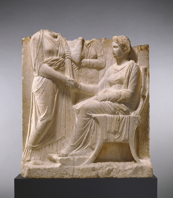 'Grave Naiskos of a Seated Woman with Two Standing Women', ca. 340 BCE, J. Paul Getty Museum