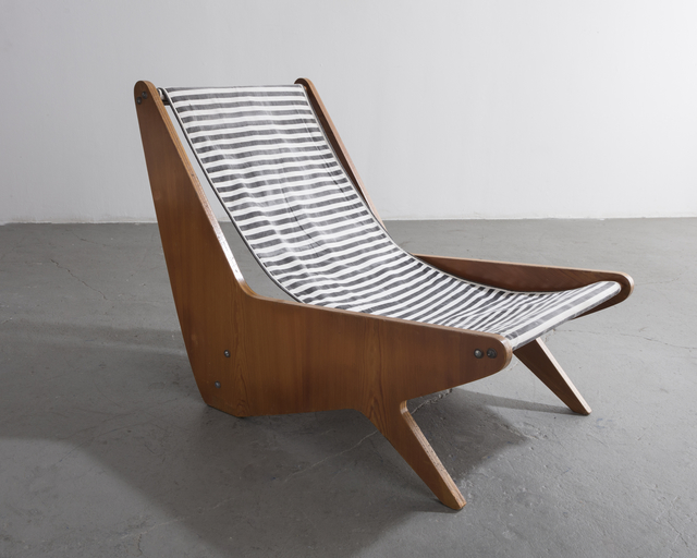 , 'Early plywood lounge chair with black and white striped slung canvas seat ,' 1950-1959, R & Company