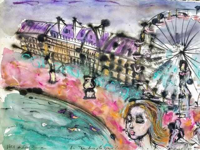 Norma de Saint Picman, 'Souvenirs de Paris - L'enfance, Les Tuileries - La Grande Roue', 2003, Drawing, Collage or other Work on Paper, Ink drawing on humid paper Vélin d'Arches 300 g, aquarelles, café, colle, Noravision Gallery
