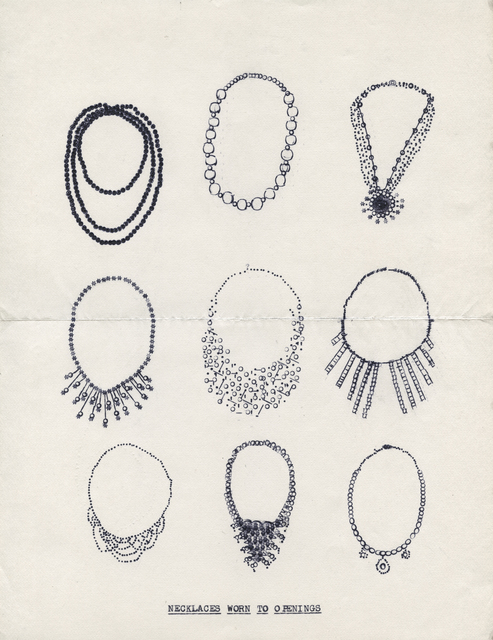 Lenka Clayton, 'Necklaces Worn to Openings (from the Typewriter Drawings series)', 2016, Catharine Clark Gallery