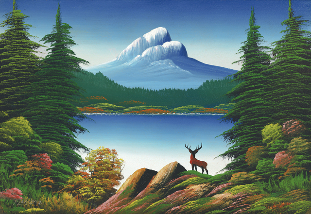 , 'Untitled (Mountain lake with deer),' n.d., Contemporary Art Gallery