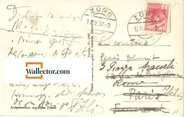 , 'Postcard by Dalì to The Countess Pecci-Blunt,' 1937, Wallector
