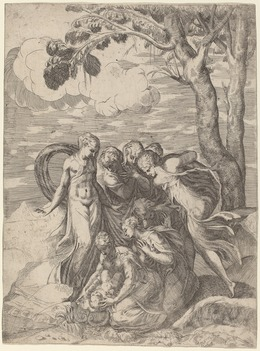 Battista Angolo del Moro after Andrea Schiavone, 'Moses Rescued from the Nile', 1540s, Print, Etching with engraving on laid paper, National Gallery of Art, Washington, D.C.